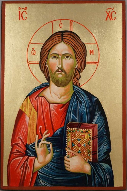 Jesus Christ Pantocrator Hand Painted Orthodox Icon