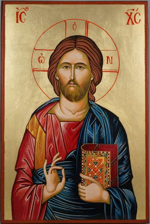 Jesus Christ Pantocrator Hand Painted Orthodox Icon on Wood