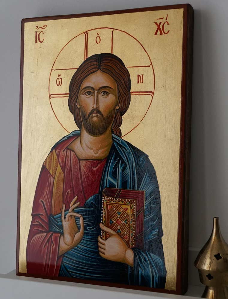 Hand-Painted Orthodox Icon of Jesus Christ Pantocrator