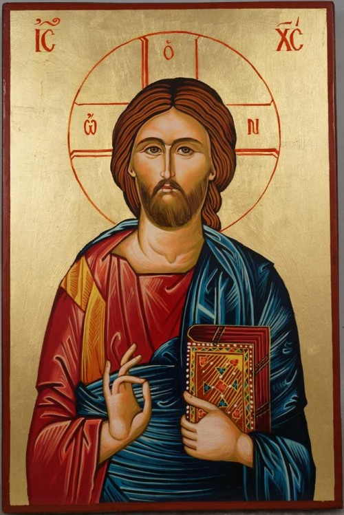 Hand-Painted Orthodox Icon of Jesus Christ Pantocrator