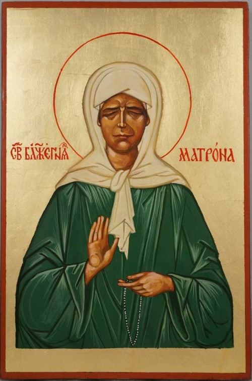 Saint Matrona of Moscow Hand Painted Byzantine Orthodox Icon on Wood