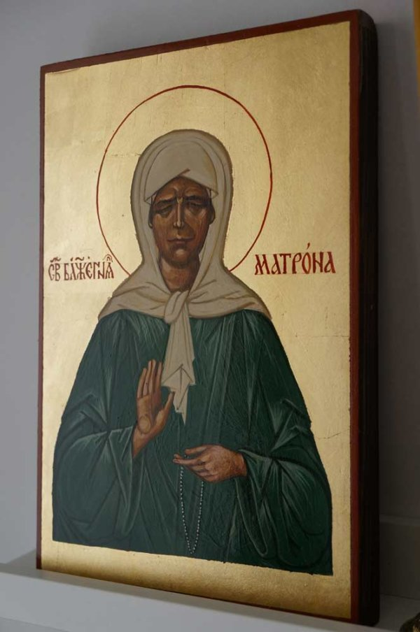Saint Matrona of Moscow Hand Painted Byzantine Orthodox Icon on Wood