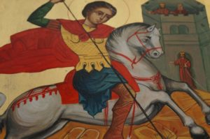 St George Hand-Painted Byzantine Icon Detail