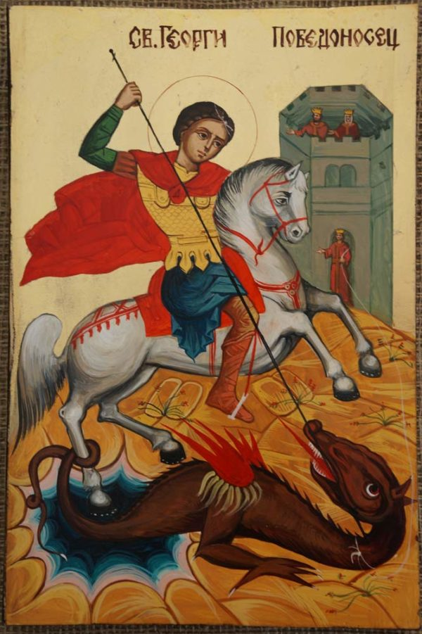 Saint George Hand-Painted Byzantine Icon