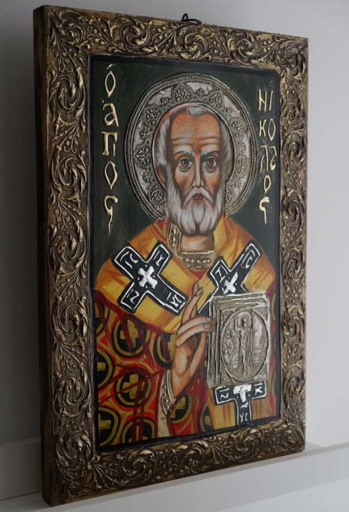 Hand-Painted Orthodox Icon of St Saint Nicholas
