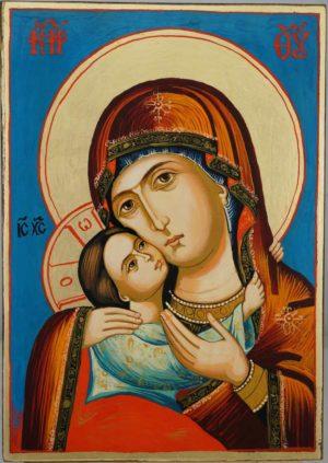 Virgin Mary Rilska Eleusa Hand Painted Orthodox Icon