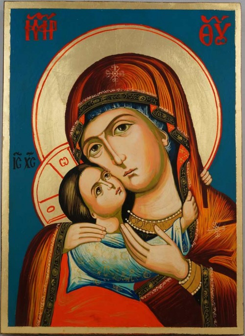 Virgin Mary Rilska Eleusa Hand Painted Orthodox Icon on Wood