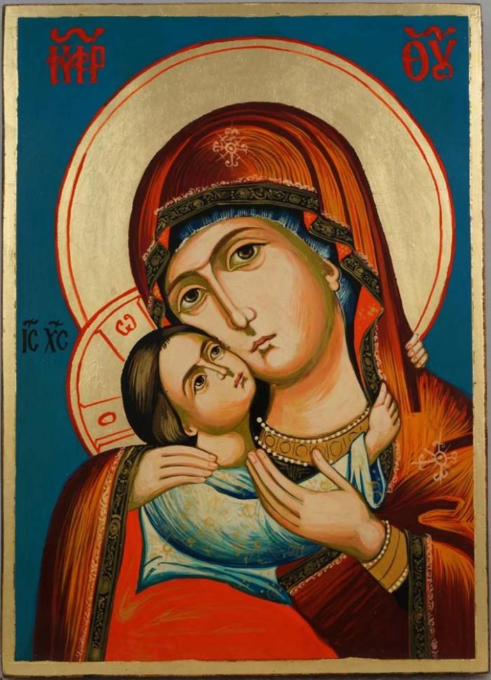Virgin Mary Rilska Eleusa Hand Painted Orthodox Icon on Wood