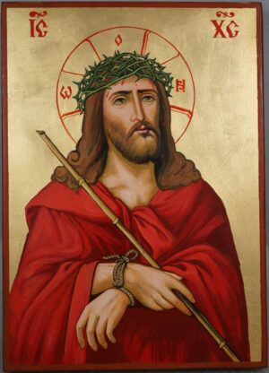 Jesus Christ Crown of Thorns Hand Painted Orthodox Icon on Wood