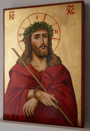 Jesus Christ Crown of Thorns Hand Painted Orthodox Icon on Wood