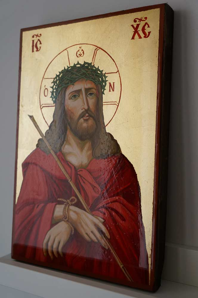 Jesus Crown of Thorns Hand Painted Byzantine Orthodox Icon on Wood