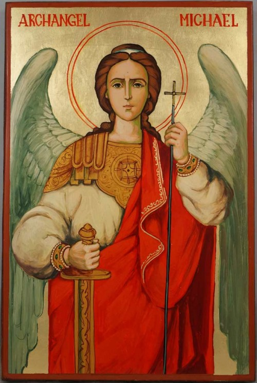 Saint Archangel Michael Hand Painted Byzantine Orthodox Icon on Wood