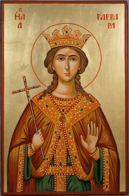 Saint Barbara Hand Painted Byzantine Orthodox Icon on Wood
