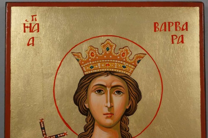 Saint Barbara Hand Painted Byzantine Orthodox Icon on Wood