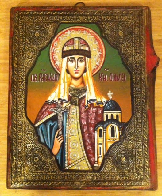 Saint Olga of Kiev Hand-Painted Byzantine Icon