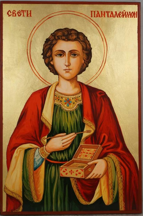 Saint Pantaleon Panteleimon Hand Painted Orthodox Icon on Wood