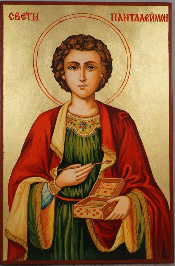 Saint Pantaleon Panteleimon Hand Painted Orthodox Icon on Wood