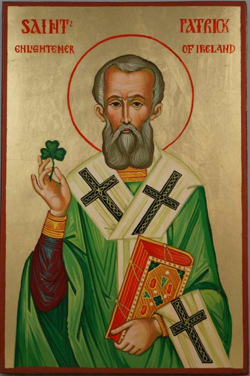 Saint Patrick Hand Painted Orthodox Icon on Wood