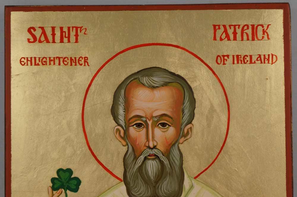 Saint Patrick Hand Painted Orthodox Icon on Wood