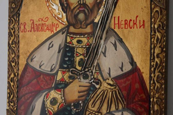 Hand-Painted Byzantine Icon of Saint Alexander Nevsky