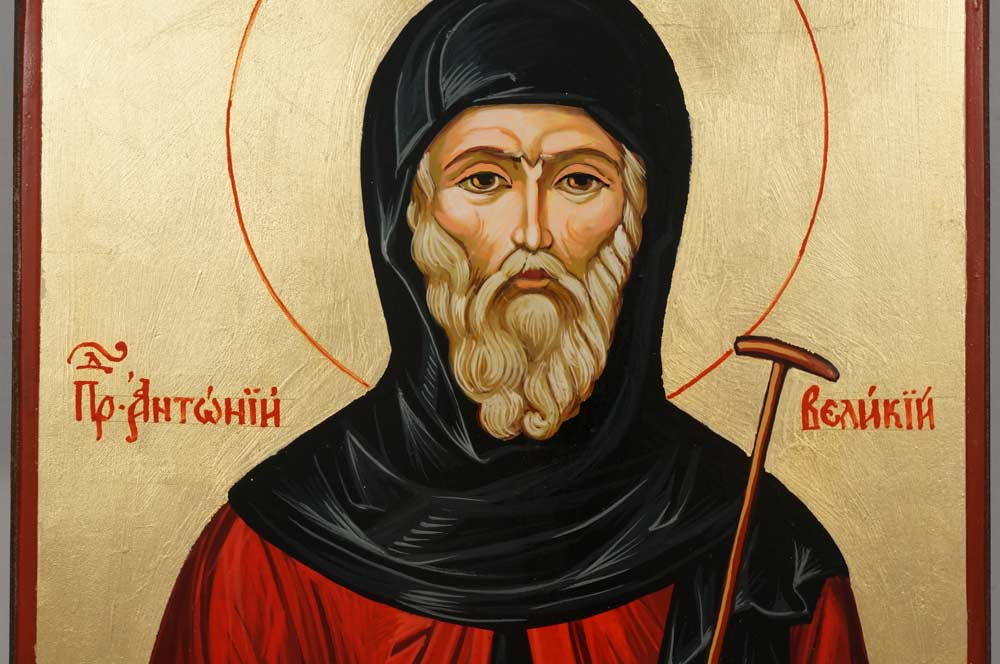 Hand-Painted Orthodox Icon of Saint Anthony the Great