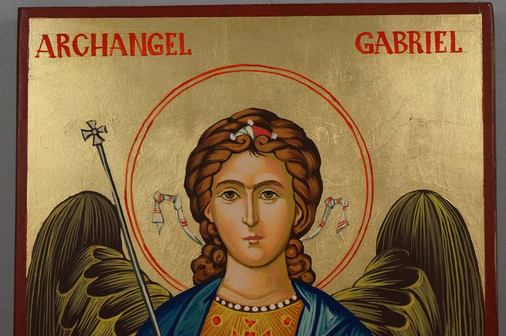Hand-Painted Byzantine Orthodox Icon of St Archangel Gabriel