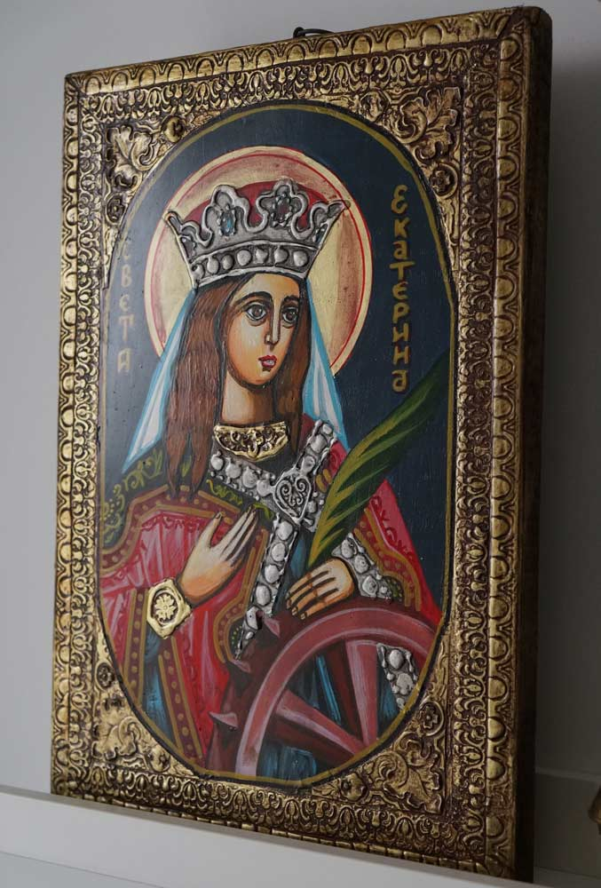 Saint Catherine of the Wheel Hand-Painted Icon
