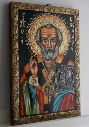 Hand-Painted Orthodox Icon of Saint St Nikolaos of Myra