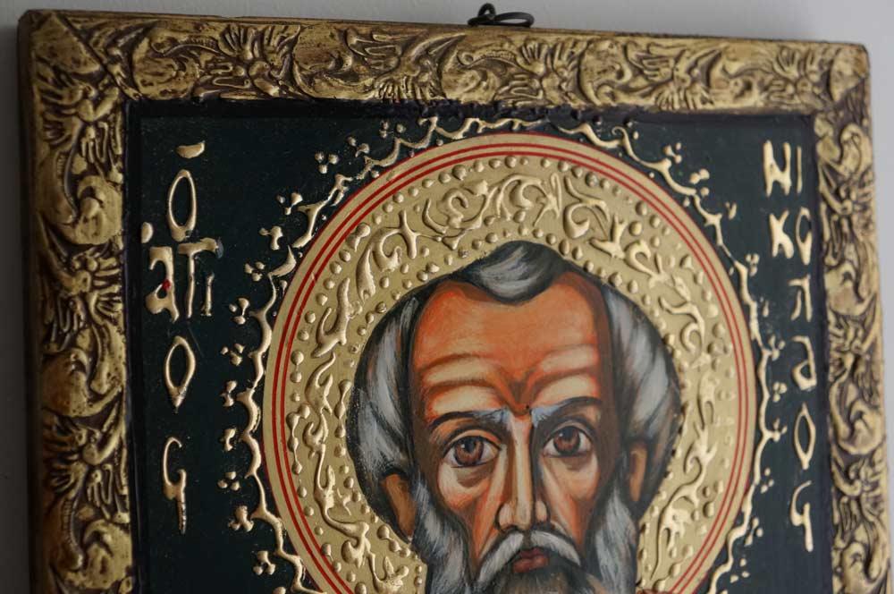 Hand-Painted Orthodox Icon of Saint St Nikolaos of Myra