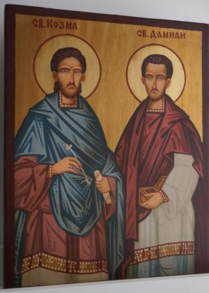 Saints Cosmas and Damian Hand-Painted Byzantine Icon
