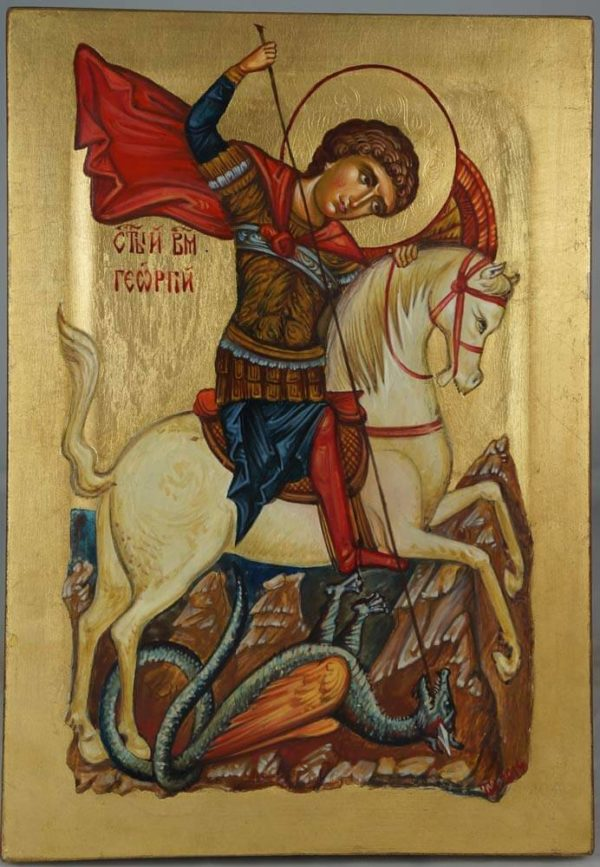St George Slaying the Dragon Hand-Painted Icon