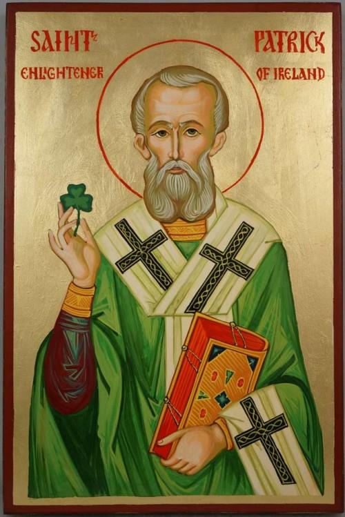 Hand-Painted Orthodox Byzantine Icon of Saint Patrick