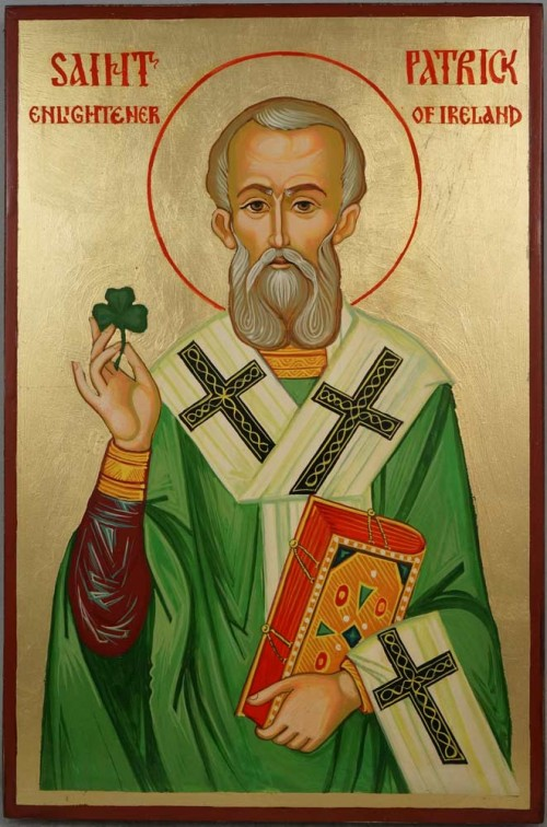 Hand-Painted Orthodox Icon of St Saint Patrick of Ireland