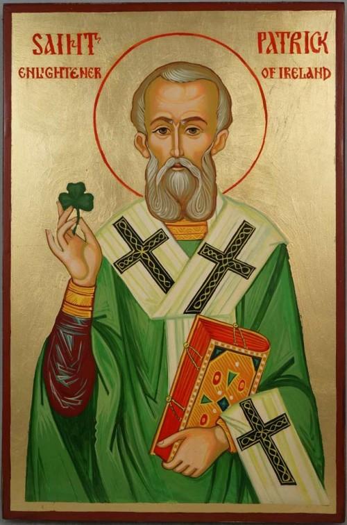 Hand-Painted Orthodox Icon of St Saint Patrick of Ireland