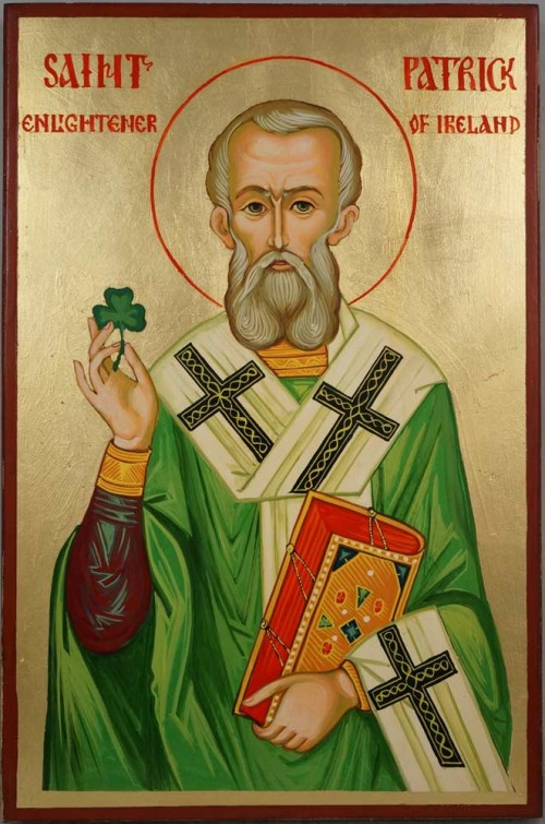 St Saint Patrick Enlightener of Ireland Hand Painted Orthodox Icon