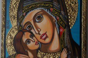 Virgin and Child Theotokos Eleusa Hand-Painted Orthodox Icon