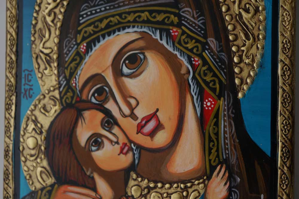Virgin and Child Theotokos Eleusa Hand-Painted Orthodox Icon