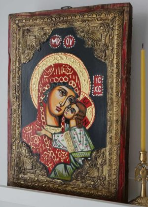 Madonna and Child Eleusa Hand-Painted Byzantine Icon