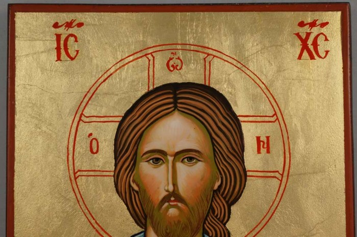 Jesus Christ Open Book Hand Painted Byzantine Orthodox Icon on Wood