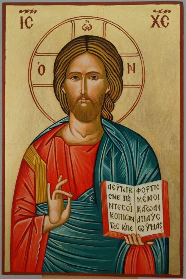 Jesus Christ Open Book Icon Hand Painted Byzantine Orthodox