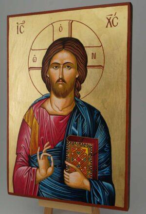 Jesus Christ Pantocrator Icon Hand Painted Byzantine Orthodox Large