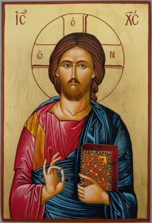 Jesus Christ Pantocrator Icon Hand Painted Byzantine Orthodox Large