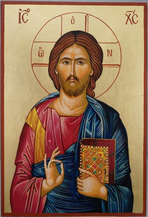 Jesus Christ Pantocrator Large Hand Painted Orthodox Icon on Wood