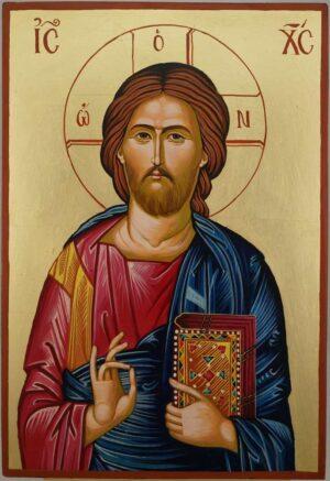 Jesus Christ Pantocrator Large Hand Painted Orthodox Icon on Wood