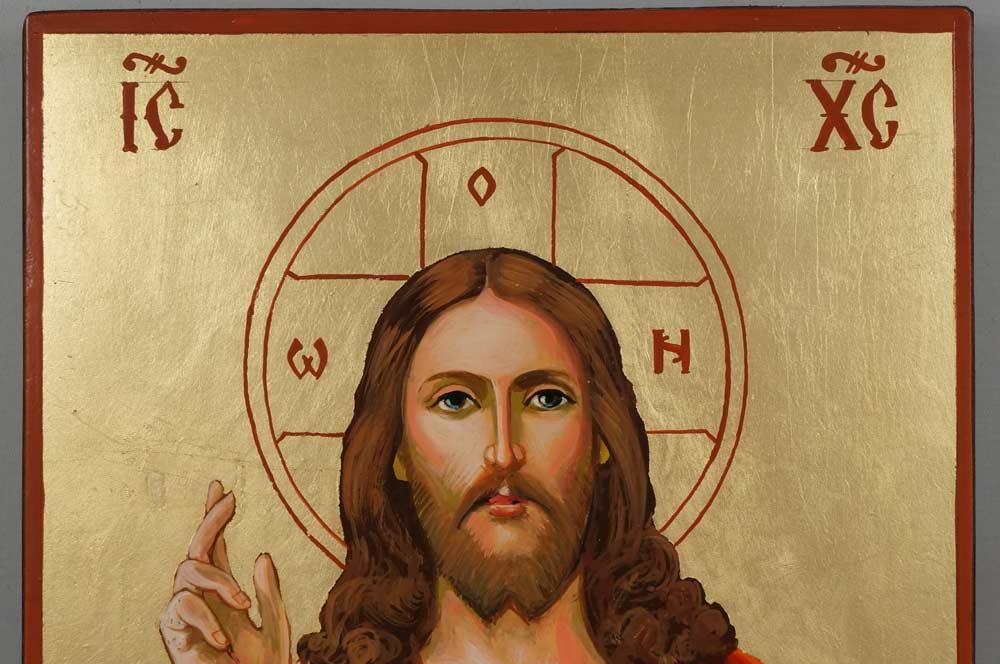 Jesus Christ Sacred Heart Hand Painted Roman Catholic Icon