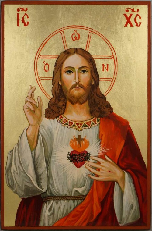 Jesus Christ Sacred Heart Hand Painted Roman Catholic Icon