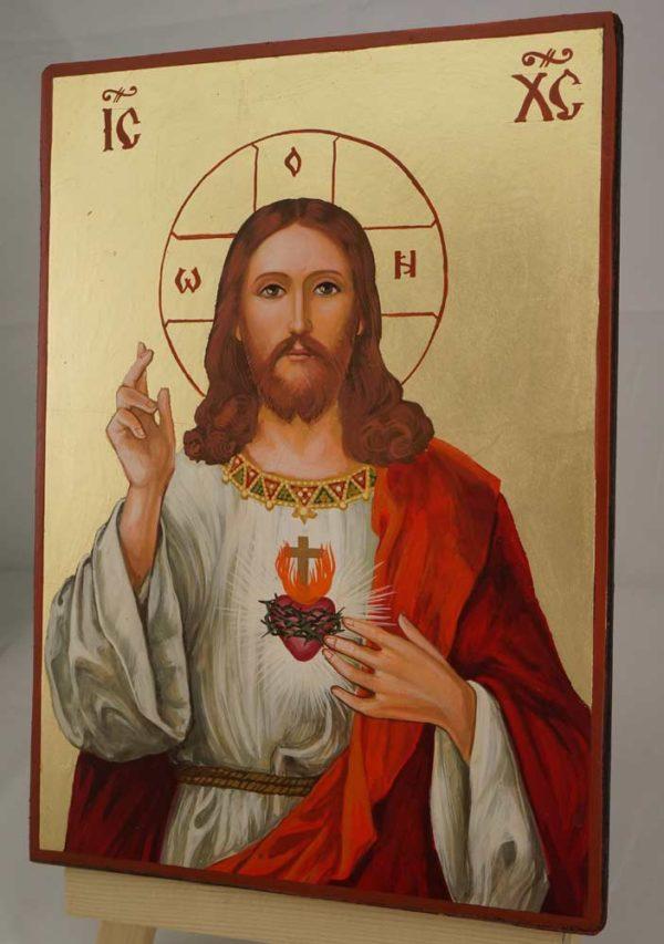 Jesus Christ Sacred Heart Hand Painted Roman Catholic Icon on Wood