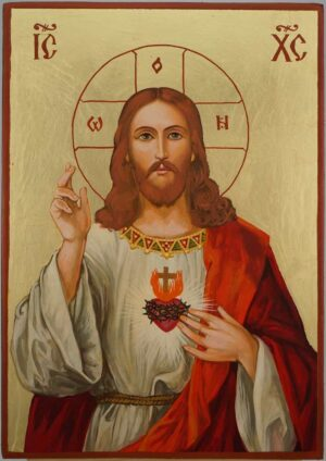 Jesus Christ Sacred Heart Icon Hand Painted Roman Catholic