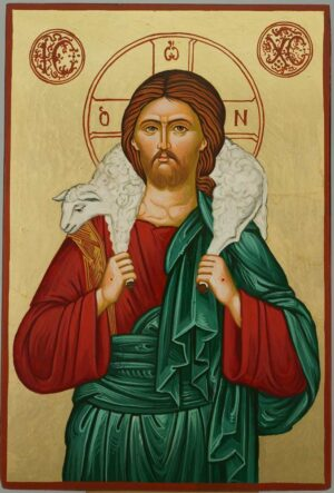 Jesus the Good Shepherd Icon Orthodox Byzantine Hand Painted