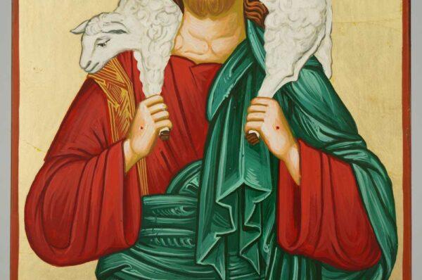 Jesus the Good Shepherd Icon Orthodox Byzantine Hand Painted